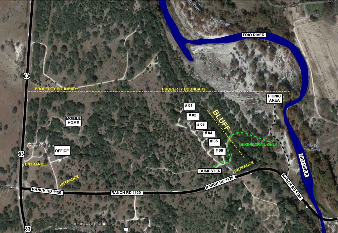 Frio Bluff Cabins park map